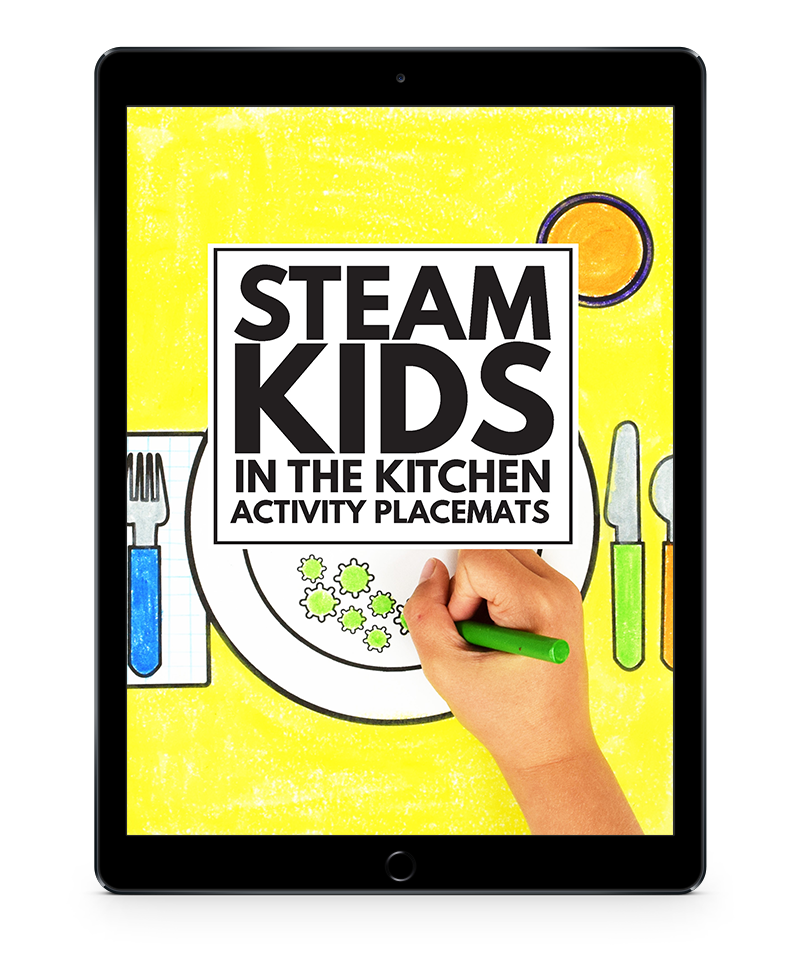 STEAM Kids in the Kitchen Activity Placemats iPad transparent background 800x960