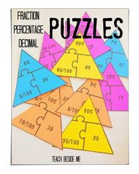 Fraction Percentage Decimal Puzzles (Teach Beside Me)