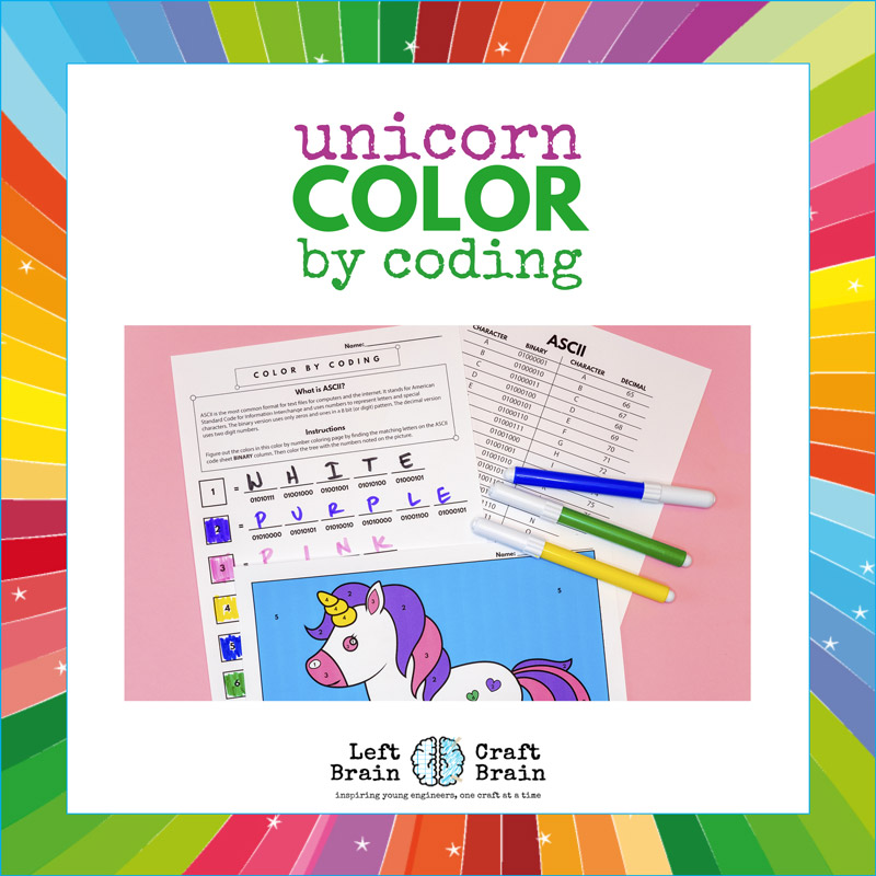 Color By Coding Unicorn Coloring Page Steam Kids